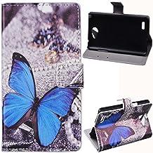 Voguecase® Para LG Bello II 2,Funda Carcasa Cuero Tapa Case Cover(Mariposa azul) + Gratis aguja de la pantalla stylus universales