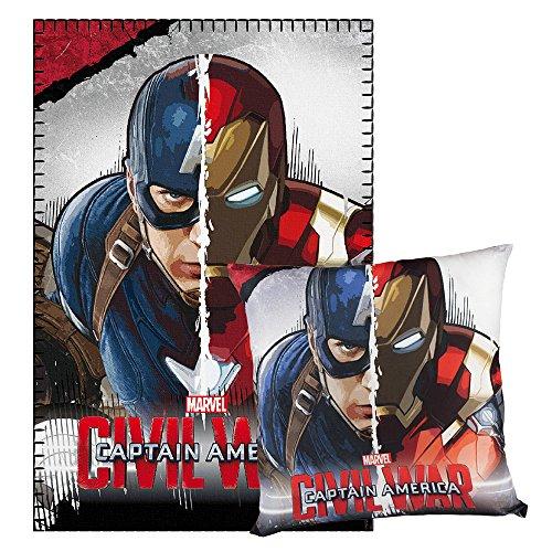 Cerdá Capitán América - Manta polar y cojín, 150 x 100 x 15 cm, color gris