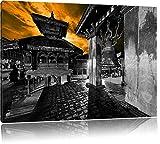 alte Stadt Bhaktapur am Abend schwarz/weiß Format: 120x80 auf Leinwand, XXL riesige Bilder fertig gerahmt mit Keilrahmen, Kunstdruck auf Wandbild mit Rahmen, günstiger als Gemälde oder Ölbild, kein Poster oder Plakat