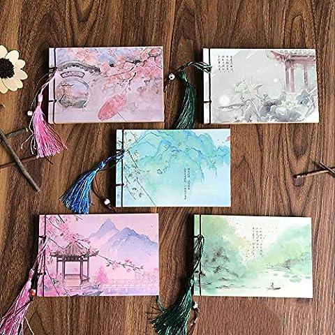 BBIAY 5 Retro-Notizbücher Chinesische Art-Handbuch Linie Trompete Notepad 15 * 10cm (60 Blätter * 5)