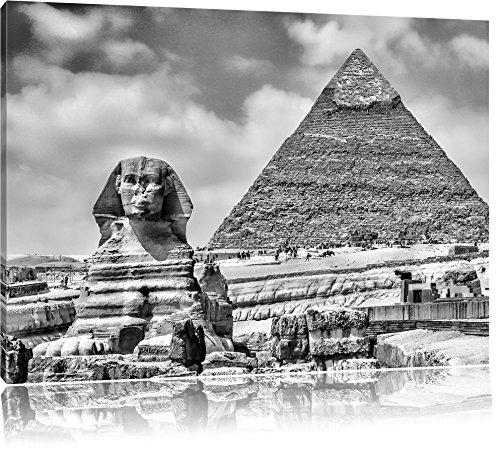 Große Sphinx (Monocrome, Große Sphinx von Gizeh mit Pyramide , Format: 80x60 auf Leinwand, XXL riesige Bilder fertig gerahmt mit Keilrahmen, Kunstdruck auf Wandbild mit Rahmen, günstiger als Gemälde oder Ölbild, kein Poster oder Plakat)