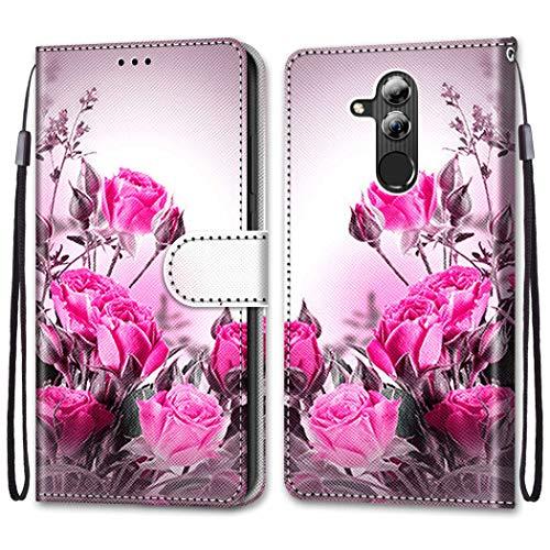Nadoli Bunt Leder Hülle für Huawei Mate 20 Lite,Cool Lustig Tier Blumen Schmetterling Entwurf Magnetverschluss Lanyard Flip Cover Brieftasche Schutzhülle mit Kartenfächern