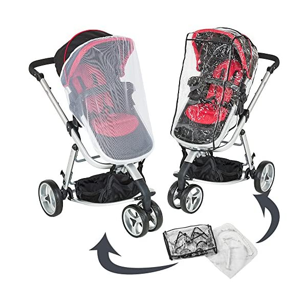 TecTake 3 in 1 Pushchair stroller combi stroller buggy baby jogger travel buggy kid's stroller -different colours- (Red/Black)  Aluminium frame | mosquito net Collapsible to a compact size for space-saving transport 5-point safety harness, Safety bar 7