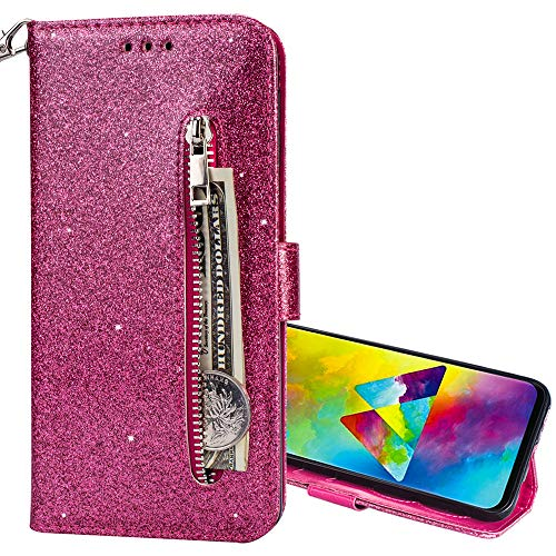 Nadoli Glitzer Handyhülle für Huawei P20 Lite,Reißverschluss Kartentaschen Entwurf Hell Glänzen Magnetverschluss Flip Bling Schutzhülle Etui im Brieftasche-Stil für Huawei P20 Lite