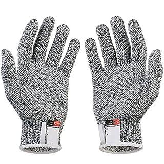 Gants de sécurité anti-coupure résistants aux coups de coupures, en acier inoxydable, en maille métallique pour cuisine, boucher et boucher - Gants de sécurité - Blanc/gris - S