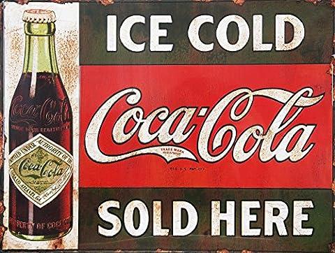 Ice Cold Coca Cola Vendu ici rétro Boîte en métal de style vintage plaque murale fantaisie Cadeau
