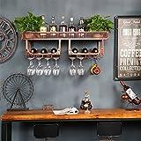 Colgadores de pared estante de botella de vino marco de vidrio vino rojo boca abajo barra de vino creativo gabinete de vino de pared creativa colgando titular de la taza Botelleros ( Color : Marrón )