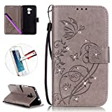 Huawei Honor 5C Leather Case Wallet Book Cover , NEWSTARS Lightweight Folio Flip Shiny Bling Rhinestone PU Case Diamond Design Mobile Cell Phone Cover Protect Skin Leather Case For Huawei Honor 5C Phone Kickstand Card Holder ID Pouch / Cash Pocket / Card Slots + 1Pcs Screen Protector + 1Pcs Stylus Touch Pen - Diamond Gray