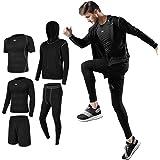 Superora Mens Gym Running Clothes 5Pcs Set Compression Gym Wear Fitness Clothing Set