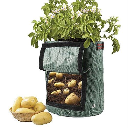 JYCRA croissance Sacs, 2-pack 7/10 Gallon Jardin Légumes Pot de fleurs Sacs avec rabat et poignées Heavy Duty Convient pour pommes de terre, carottes, tomates, Oignons, etc, PP, Green, 35 x 50 cm