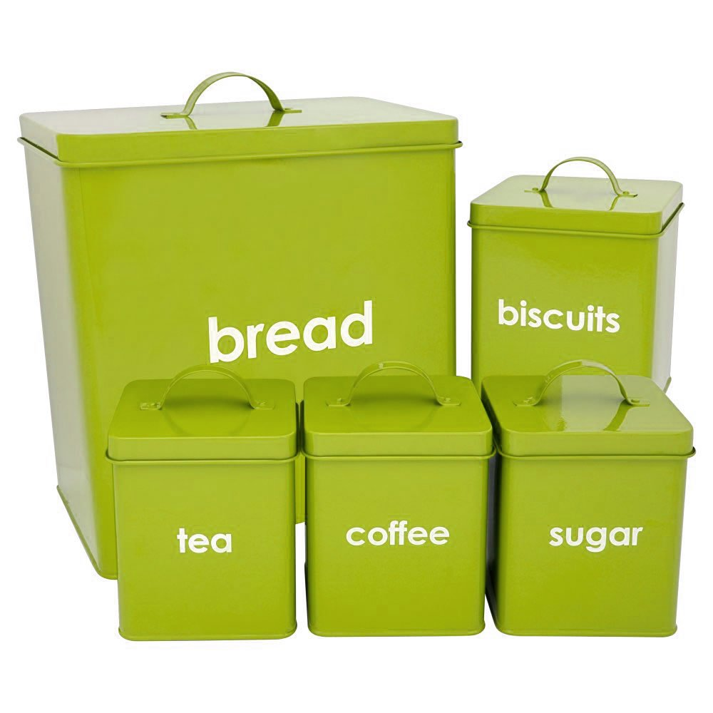 Kitchen Storage Canisters 5 Piece Kitchen Jars Storage Cannisters Bread Bin Tea Coffee Sugar