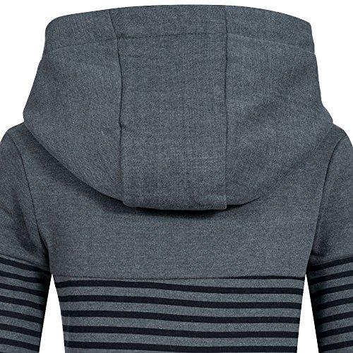 Sublevel Damen Sweatshirt Hoodie Kapuze LSL-287 Streifen dawn blue melange