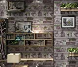 Poowef Wallpaper American Retro Vintage Vasen, Blumenvasen, Weinkeller, Alte Bücher, Wallpaper, Restaurants, Bars, Cafés, Tapeten, 0,53*10 M, S