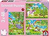 Schmidt Spiele Puzzle 56225 - Standard 3 x 48 Teile Prinzessin im Schlossgarten