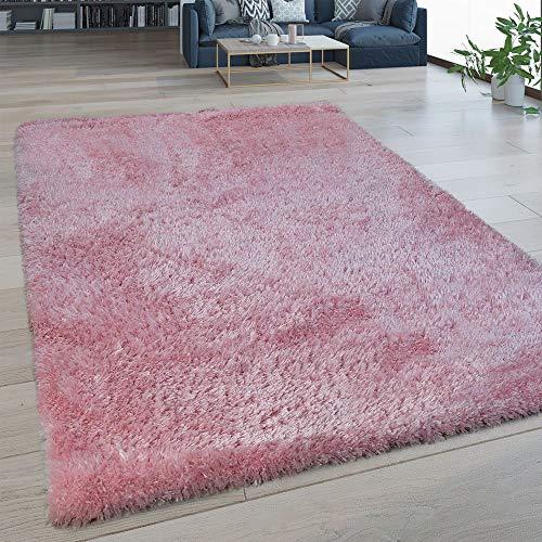 Paco Home Hochflor Wohnzimmer Teppich Waschbar Shaggy Flokati Optik Einfarbig In Pink, Grösse:130x200 cm -