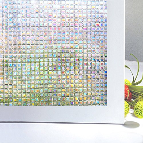 Zindoo Privacy Window Film Window Coverings Privacy Film Decorative Film Self-Adhesive Stain Glass Film Privacy Glass Film Sticker Frosted Window Film Anti-UV44.5 x 200 CM