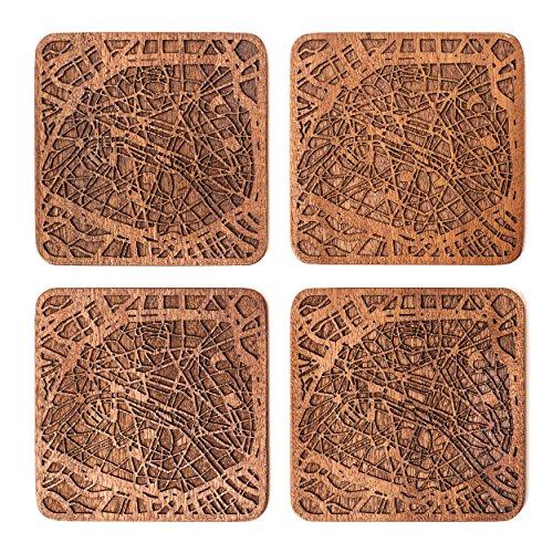 Paris Map Coaster, Set Of 4, Sapele Wooden Coaster With City Map, Handmade Paris Coaster