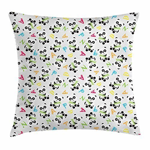 Panda Throw Pillow Cushion Cover, Chinese Big Bear Cubs with Bamboo Stalks on Alphabetical Elements Background Colorful, Decorative Square Accent Pillow Case, 18 X 18 Inches, Multicolor