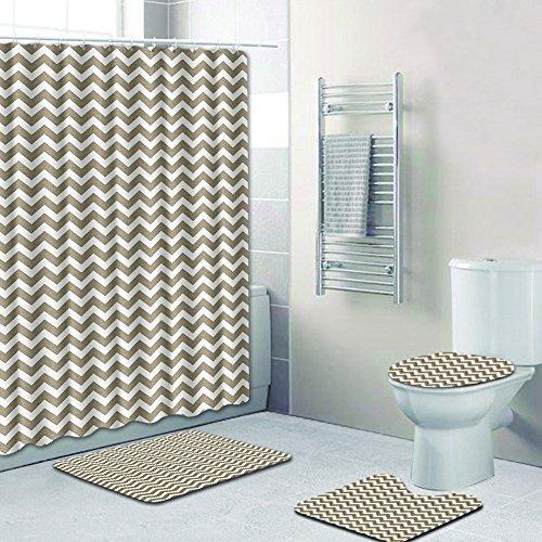 Rziioo 3D Badezimmer Dusche 4 Stück Set, Badematte + Pedestal Mat + WC Sitzbezug Mat + Duschvorhang,G,45*75Cm (12 Stück Voll Bett)
