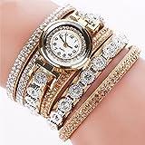 Steellwingsf Vintage Damen Strass Decor Runde Zifferblatt Armband Analoge Quarz-Armbanduhr, MWEBUP18122, gold, Einheitsgröße