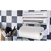 BIRDLINE 3 in 1 Kitchen Triple Dispenser and Holder Paper/Foil/Cling Wrap Center Holds Silver Foil, Plastic and Paper…