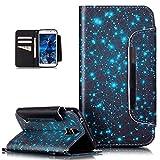 Galaxy S5 Neo Hülle,Galaxy S5 Hülle,ikasus Bunte Gemalt Malerei Muster PU Lederhülle Schutzhülle Handyhülle Taschen Schalen Handy Tasche Flip Wallet Ständer Schutzhülle für Galaxy S5,Blaue Galaxie