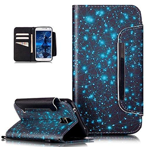 Kompatibel mit Galaxy S5 Neo Hülle,Galaxy S5 Hülle,Bunte Gemalt Malerei PU Lederhülle Schutzhülle Handyhülle Taschen Schalen Handy Tasche Flip Wallet Ständer Schutzhülle für Galaxy S5,Blaue Galaxie