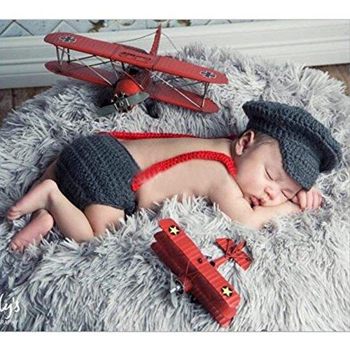 Sunfire 3Stück Crochet Knit Kostüm Foto Fotografie Prop Baby Kleidung SET Marineblau