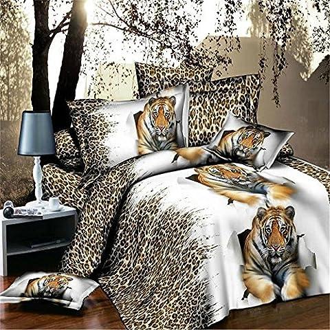 Bettbezug-Set 3D gebürstet Druckeffekt Quilt Polybaumwolle Bettwäscheset Queen-Größe Kissenbezüge, 4-teilig, Stil 3, (Ge Quilt Designs)