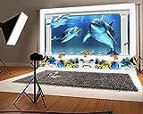 YongFoto 1,5 x 1 m fondo de fotografía 3D acuario bajo el mar mundo delfín peces hogar TV sofá Decor paisaje artístico fondos para fotografía fotografía fotos fiesta recién nacido niños bebé personalizado retrato vinilo foto fondo estudio Props