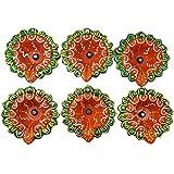 Diwali Diya Set Of 6 Handmade Earthen Clay Terracotta Decorative Dipawali Diya Diwali Diya Oil Lamps For Pooja Diwali Deepak Fancy Diya For Rongali - B075VCXWFZ