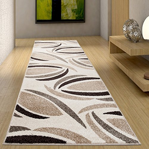 24 Klassische Läufer Teppich (Moderne Läufer Teppich Flur Brücke - Muster in Creme - Teppichläufer TWIST Kollektion 80 x 200 cm)