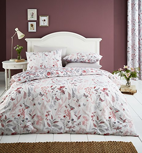 Catherine Lansfield Botanical Gardens single Duvet Set, Coral