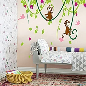 Large Naughty Monkeys On Tree Vine Wall Art Sticker Decal For Nursery  Bedroom Decor Removable Baby Part 60
