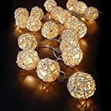 Cosansys 20LED Guirlande Guirlandes Lumineuses Batterie Rotin Pour Noël, Mariage, Patry, Decoration Maison Etc Environ 2.2M 3 XAA Piles (Non Inclus) (Blanc chaude)...