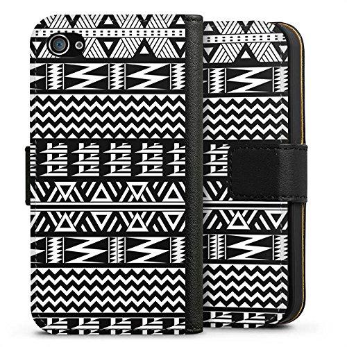 Apple iPhone X Silikon Hülle Case Schutzhülle Tribal Muster Ethno Style Sideflip Tasche schwarz