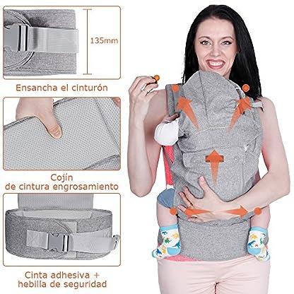 61zXd7pvlwL. SS416  - Lictin Mochilas portabebé Manos libres - Portabebés transpirable ergonómicamente diseñado Múltiples posiciones Se adapta a medida que sus hijos crece, Certificado CE para bebé Hasta 15 kg