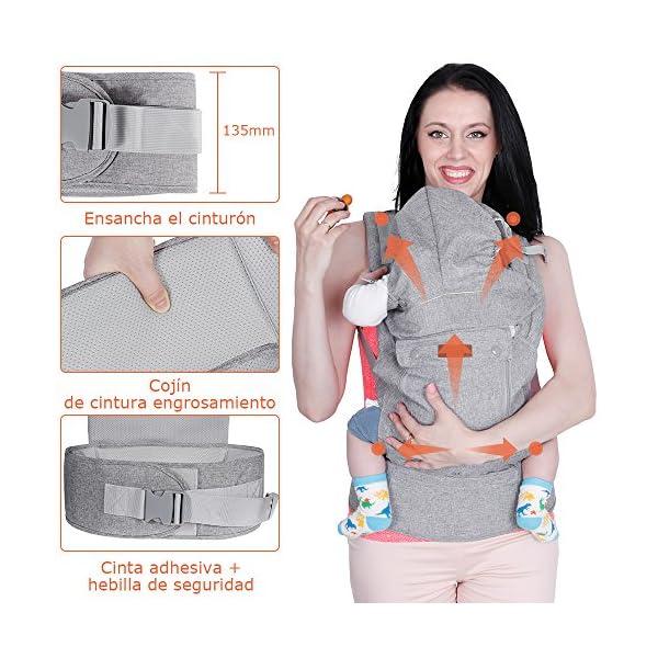 Lictin Mochilas portabebé Manos libres – Portabebés transpirable ergonómicamente diseñado Múltiples posiciones Se adapta a medida que sus hijos crece, Certificado CE para bebé Hasta 15 kg