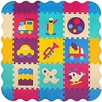 meiqicool bambini puzzle giocare Mat colorato morbido non tossico Jigsaw schiuma pavimenti e giocattoli (116x116 x1cm) 9 pz giocare tappetini con bordi) 024B