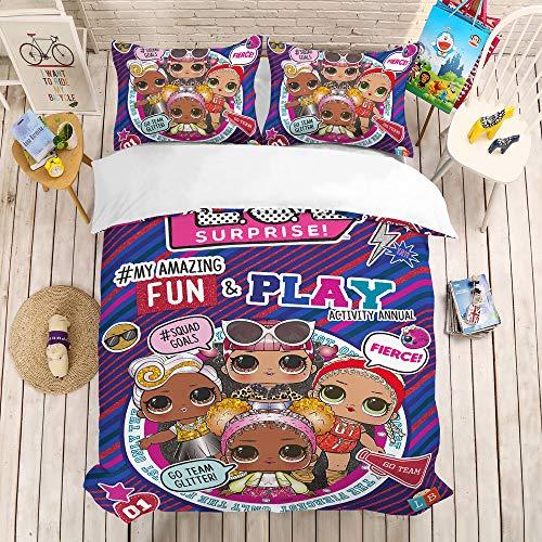 bed linings Cartoon Puppe Bettbezug Sets 3D Druck 3 Stück Set Bettwäsche 100% Mikrofaser Für Geschenke (1 Bettbezug + 2 Kissenbezüge) E-Full(200x229cm) -