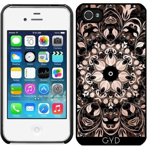 Leder Flip Case Tasche Hülle für Apple iPhone 6/6S - Kupfer Schwarz Blumenmandala by Nina Baydur Starre Kunststoff