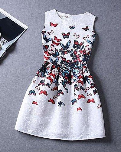 Minetom Donna Estate Vintage Stampa Farfalla Vestiti Senza Maniche Mini Abito Cocktail Anni 1950 Vestito da Festa Bianco
