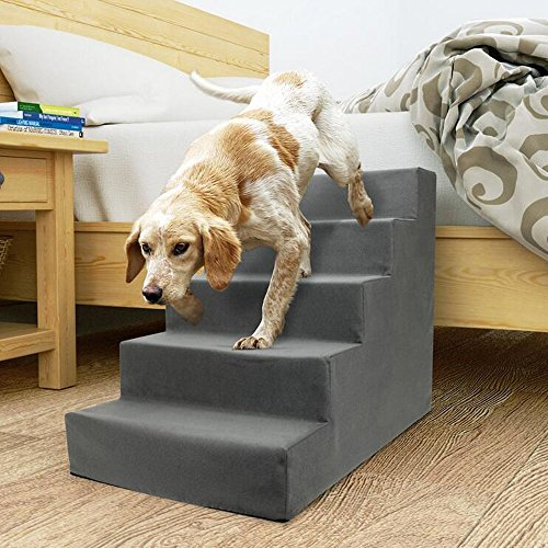 Dog Pet Stairs 5 Steps for Small Dogs Cats to get on High Bed Portable Pet Dog Ramp Ladder with Soft Plush Washable Cover, Grey