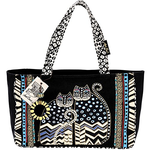 laurel-burch-15-1-2-x-4-1-2-x-10-inch-spotted-cats-medium-tote-zipper-top