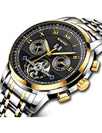 Watches for Men Automatic Mechanical Sport Watch Business Classic Stainless Steel Silver Waterproof Watch Skeleton Tourbillon LIGE Luxury Brand Dress Wrist Watch Gold Black Watch Dial for Men
