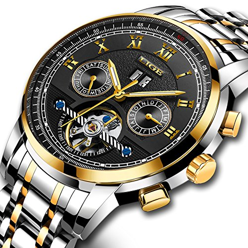 Uhren Herren, Wasserdicht Sportuhr LIGE Mode Uhren Männer Automatik Mechanisch Skeleton Luxus Elegante Einfache Uhr Lässig Edelstahl Armbanduhren Tourbillon Gold Schwarz...
