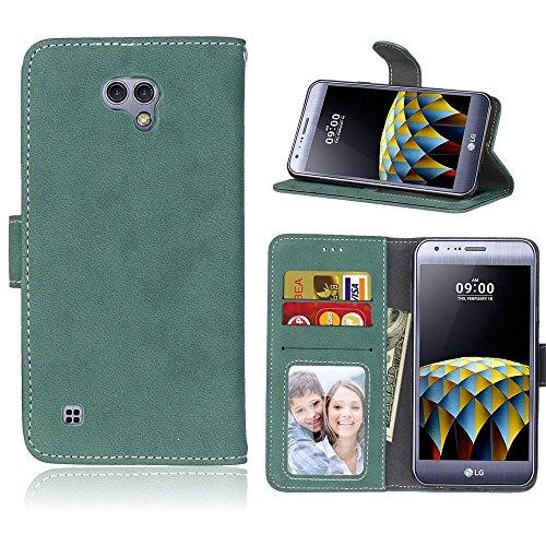 LG X Cam (K580, 5.2'') Hülle, Cozy hut TPU Silikon Hybrid Handy Hülle Matte Series Case Durchsichtig Stoßfest Tasche Schutz Scratch-Resistant protection Case Tasche Schutzhülle Cover Handyhülle Etui Shell für LG X Cam (K580, 5.2'') Schutzhülle Folio Magnetverschluss Flip Case Wallet Taljereep Fall Handyhülle mit Kartenfach und Standfunktion - Grüne bereift