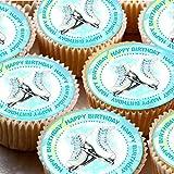 """Kuchenaufleger, 24 Stück, 4cm, Bilder auf Zuckerguss, für Cupcakes –Schlittschuh-Motiv mit """"Happy Birthday""""-Aufschrift"""