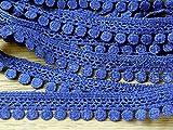 Minerva Crafts 18mm Pompon Effekt Guipure-Spitze Trimmen Denim Blau–Meterware
