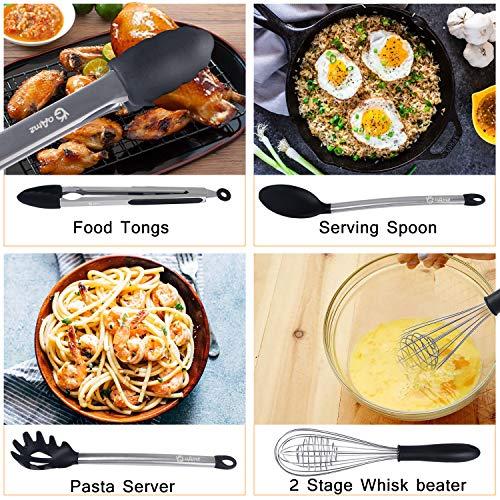 GOAMZ 9 Pezzi Utensili da Cucina,Set Utensili Cucina Silicone AntiGraffio Pentole Professionali con Porta, Acciaio Inox Antiaderente Resistente - 4